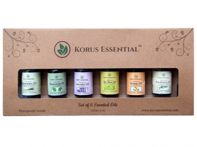 Korus Essential Top 6 Essential Oils For Aromatherapy Set Of 6 15Ml Essential Oils 100% Pure & Therapeutic Grade 6/15 Ml